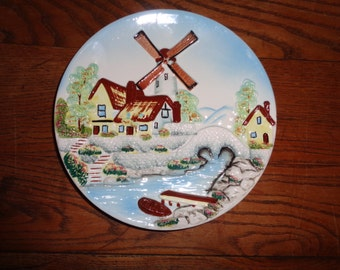 Vintage Hand Painted Decorative Wall Plate of a Dutch Landscape Scene with a Windmill in the background, Made in Japan with Kelvin's label