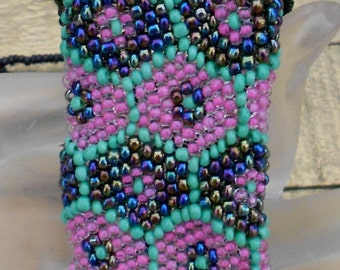 Green and Pink Beaded Pouch