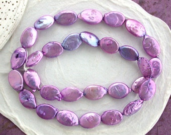 Sale Beads, Closeout Beads, Destash Beads, Purple Fresh Water Oval Shaped Pearls, Destash Pearl Beads, Destash Supplies DS-657