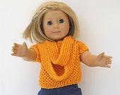Doll Summer Sweater in Warm Yellow With Matching Infinity Scarf, Hand Knitted Shortsleeve Sweater for 18-Inch Dolls Like American Girl