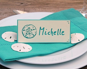 Sanddollar Place Cards, Set of Handmade Name Cards, Beach Themed Wedding, Rehearsal Dinner Decor, Seating Cards, Tent Cards, Dinner Party