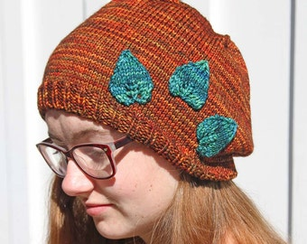 Rust Colored Hat with Green Leaves, Women's Slouchy Hat, Hand Knitted Warm Hat, Fashionable Fall and Winter Accessory, Earth Colored Beanie