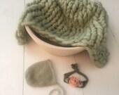 Organic Alpaca luxury big knit prop set in soft Celery green, painted posing bowl, mohair bonnet & matching floral band, newborn prop set