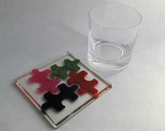 Jigsaw resin coaster - jigsaw pieces, teacher gift, gift under 10, thank you gift, coaster set, drinks coaster, drinks mat, mug coaster