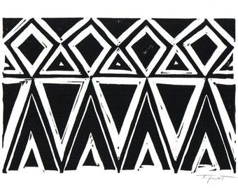 Geometric Triangles and Diamonds - Geometric print - Modern Art - Linocut Block Print - Original or Digital Print