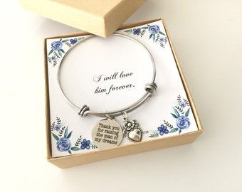 Thank you for raising the man of my dreams bracelet, charm bracelet, mother of the groom, mother in law gift