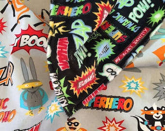 Baby Blanket in Robert Kaufman Fabric by Illustration Ink Superhero READY TO SHIP!!