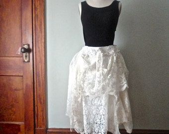 White Lace Skirt, Boho Tattered Skirt, Lacy Wedding Skirt, Rustic Wedding Skirt, Bohemian Style, Gypsy Pirate, Vintage Lace Skirt, Festivals