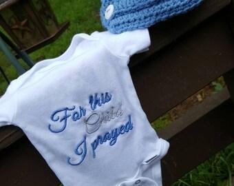 Newborn Boy Onesie & Hat Set - For This Child I Prayed - Blue/Gray - Custom Embroidered - Crochet Hat - READY TO SHIP