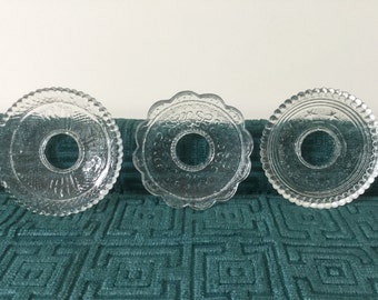3 French antique bobeches glassware 19th for chandelier candle, Handmade bobeches