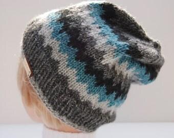Chevron stripe hat, knit acrylic hat, gray striped hat, gray striped beanie, acrylic beanie, black striped hat, dark gray hat, knit gray hat