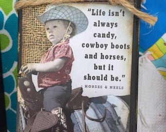 Little Cowboy Western Block Sign