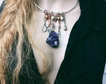 Boho amethyst sterling choker necklace | amethyst cluster, large amethyst, sterling silver, charm necklace, gypsy boho