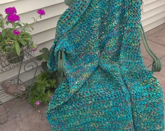 Aqua, Teal, Olive Green Afghan--4 ft x 5 ft--(22)
