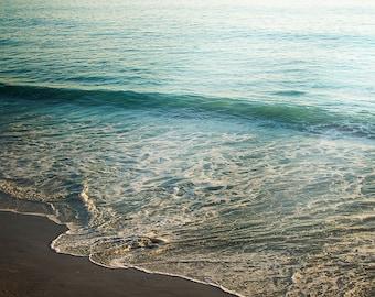 Retro Ocean Photography, Nature Photograph, Aqua Beach Decor, Modern Coastal Artwork, Teal Wave Picture, Seascape Art Print