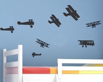 Airplane Wall Decals Boys Nursery Decals Boys Nursery Decor Boys Bedroom Wall Decals Wall Decor Boys Bedroom Decals Boys Bedroom Decor