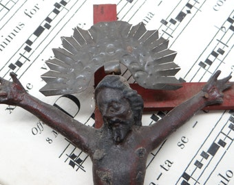 Antique Crucifix Jesus Christ on the Cross, Hand Carved Polychrome Santos with Halo