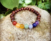 Chakra energy healing yoga meditation mala bracelet in wood and gemstone for women or men unisex