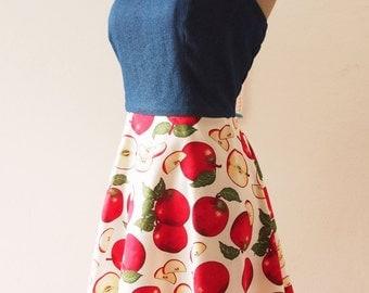 Tropical Dress, 50s Red Apple Swing Dress, Halter Vintage Inspired Dress, Tea Party Dress, Pin Up Summer Dress, Denim Dress, XS-XL, Custom