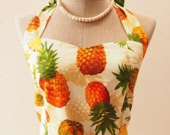 Ready to Ship - Pineapple Yellow Dress, Tropical Fruit Traditional Dress, Yellow Summer Sundress, Vintage Beach Wedding Dress, XS-XL