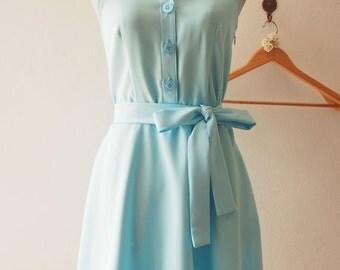 Flash Sale DOWNTOWN - Baby Blue Shirt Dress, Summer Dress, Blue Bridesmaid Dress, Midi Dress, 1950 Inspired Dress, Vintage Inspired Dress...