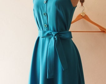 Flash Sale DOWNTOWN - Teal Shirt Dress, Teal Bridesmaid Dress, Teal midi Dress Casual Dress, 1950 Inspired Dress, Vintage Party Dress, XS...