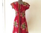 Sale - Vintage Red Tropical Print Dress Large D396