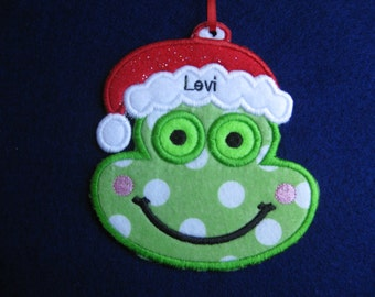Personalized Santa Frog Ornament or Gift Tag