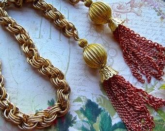 Brass Tassel Lariat,Golden Tassel Lariat,Vintage Designer Chain,Chain Tassel Lariat, Vintage Chain Lariat,Tassel Lariat,Copper Brass Tassel