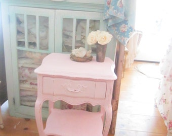 French side table  with drawer pale pink   cottage chic Rachel Ashwell