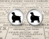 English Springer Spaniel Dog Button Earrings