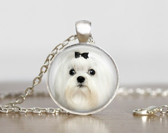 I Heart My Maltese Pendant Necklace or Keychain