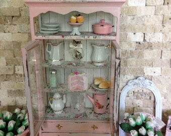 Dollhouse Miniature Vintage Elegant Farmhouse Country Armoire Curio Cabinet Storage Filled Shabby Chic Pink Hutch