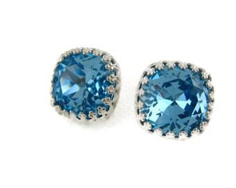 Aquamarine  Earrings Aquamarine Crystal Earrings Crystal Earrings Blue Sterling Silver Post March Birthstone Bridesmaid Gift Wedding Jewelry