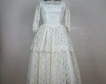 Vintage 1950s Lace Dress 50s White Lace Tea Length Wedding Gown Size 2 XS