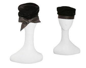 Black Hat, Ranleigh, Black Turban, Cocktail Hat, Black Bow, Hat Size 21, Vintage 1960s, Black Vintage Hat, Black Velvet, Black Satin