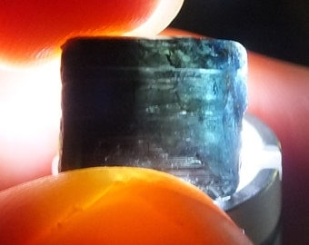 Blue Green Tourmaline Crystal, Cats Eye Terminated Point, Raw Rough, Mineral, Uncut, Genuine Stone, RARE Brazilian 2.5g - 12mm (88-26)
