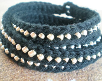 Crochet Multi Wrap Beaded Bracelet