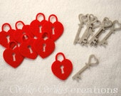 Heart Locket and key Shapes - Pack of 16