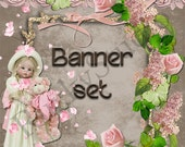 Shop Banner Set shop icon,new etsy cover/banner,avatar/profile picture -girl,doll,roses