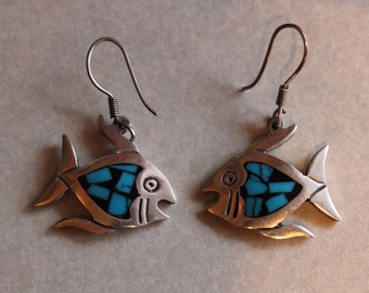 Vintage Taxco Mexico Sterling Silver Dangle Fish Earrings