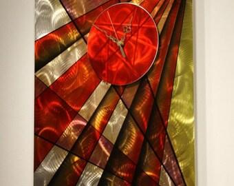 Wilmos Kovacs - Metal Wall Art Clock Sculpture, Handmade Painted Clock, Modern Handpainted Wall Sculpture Art Decor, Original Art - W346