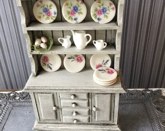 Hand painted shabby chic miniature China hutch
