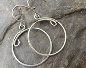 Sterling Silver Circle Earrings, Silver Hoop Earrings, Wire Wrap, Wire Wrap Earrings, Sterling Silver Earrings, Wire Wrapped Earrings
