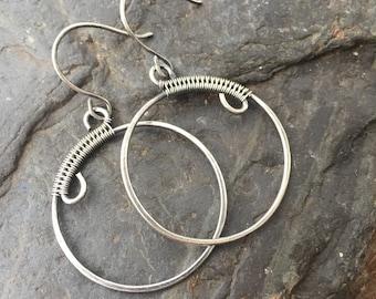 Sterling Silver Circle Earrings - Silver Hoop Earrings - Wire Wrap - Wire Wrap Earrings - Sterling Silver Earrings - Wire Wrapped Earrings