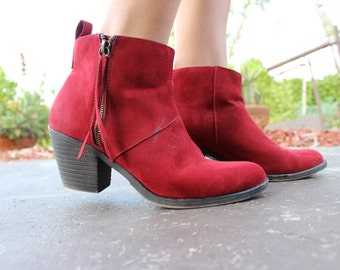 Red Suede Ankle Boots w/ Side Zipper, Women's Size 9
