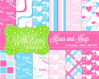 50% OFF Valentine Digital Scrapbook Paper - Heart Scrapbook Paper - Kisses and Hugs Paper - Pink and Blue Paper - Commercial Use