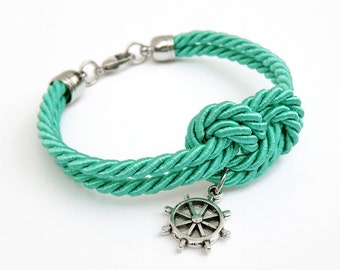 Turquoise Rope Knot Bracelet with Silver Ship Wheel Charm, Nautical Bracelet,  Silk Rope Bracelet, 12 Colors available