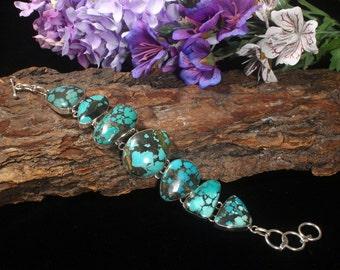 Turquoise Bracelet, Turquoise Sterling Bracelet, Turquoise Link Bracelet, Turquoise Jewelry, Natural Turquoise Stone, Real Turquoise