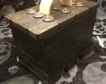 Hand made domino box made with wooden dominos an Metal naval buttons and Lucite handle